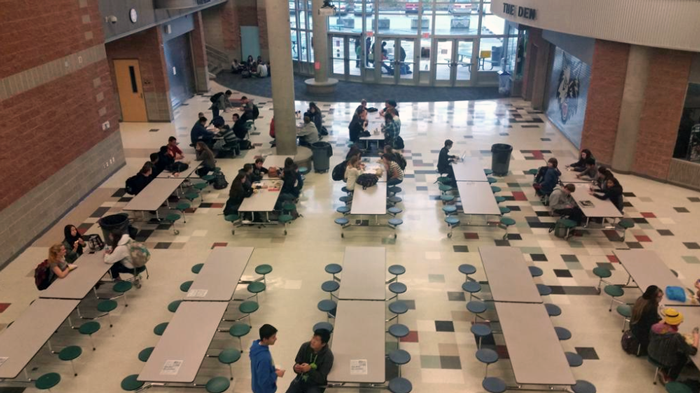 nearly empty jackson high school cafateria during second lunch on wednesday photo credit zach anders