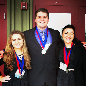 The Chapter Awards team of Emily Irwin, Nick Janner, and Brittany Burrus took first place at the DECA State Career Development Conference. This earned them a trip to Atlanta, Georgia to attend the International Career Development Conference May 2nd.
