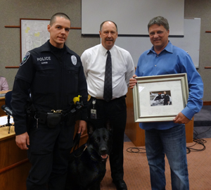 Mill Creek Police Officer Ian Durkee and Rasko became Mill Creek's first K-9 team after passing their certification testing with a 97% score on Tuesday, November 26, 2013.