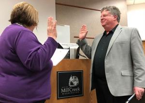 John Steckler taking oath of office from City Manager Rebecca Polizzotto. Photo credit: Joni Kirk.