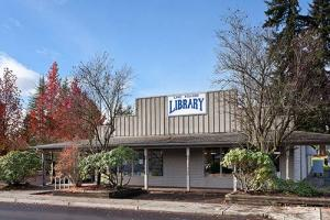 Current Lake Stevens Library on Main Street. Photo courtesy of Sno-Isle Libraries.