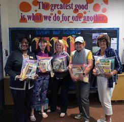 "The Mill Creek Women's Club was able to begin its community outreach for the 2019-2020 Club year at Woodside Elementary School by delivering 25 ""startup"" packages to the school principal and secretary before the start of the school year."
