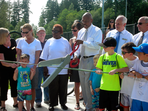 Snohomish County and Mill Creek officials opened Tambark Creek Park, a new 40-acre multi-use facility, on Friday afternoon, June 28, 2013.