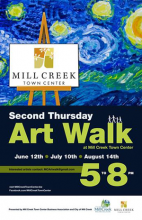 The Mill Creek Town Center Business Association along with the City of Mill Creek's Art & Beautification Board is pleased to sponsor the June 12th Mill Creek Town Center Second Thursday Art Walk from 5 pm to 8 pm.