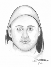 "The suspect is described as a white male in his 20's or 30's, 5'7"" tall, average build, with short hair and stubble. Image courtesy of Snohomish County Sheriff's Office."