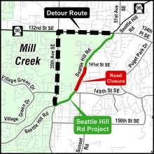 Seattle Hill Road closure information. Image courtesy of Snohomish County.