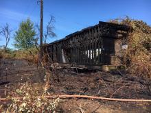 Buffalo Farm barn after fire. Photo courtesy of Fire District 7.