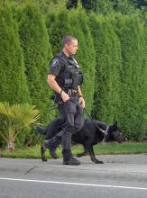 Officer Ian Durkee and K9 Rasko on patrol. Photo courtesy of City of Mill Creek.