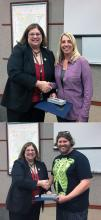Missy Harbison (top) and Tracy Dyson (bottom) receive certificates from Rebecca Polizzotto. Photo credit: Joni Kirk.