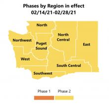 All Washington State regions have moved to Phase 2 Covid restrictions as of Tuesday, February 16th. The next update will be provided on Thursday February 25th.