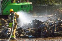 Firefighters from Snohomish County Fire District 7, Bothell Fire, and South County Fire and Rescue quickly extinguished a scrap metal fire in Woodinville on Tuesday afternoon, October 1, 2019. No injuries were reported.